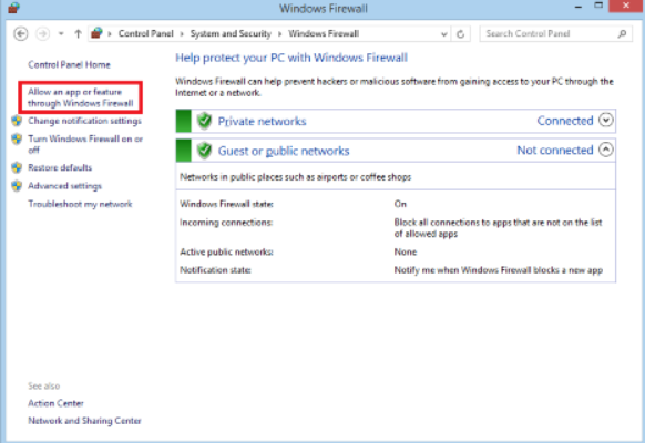 Allow Application or Feature Through Firewall