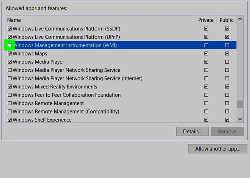 Check the box next to Windows Management Instrumentation