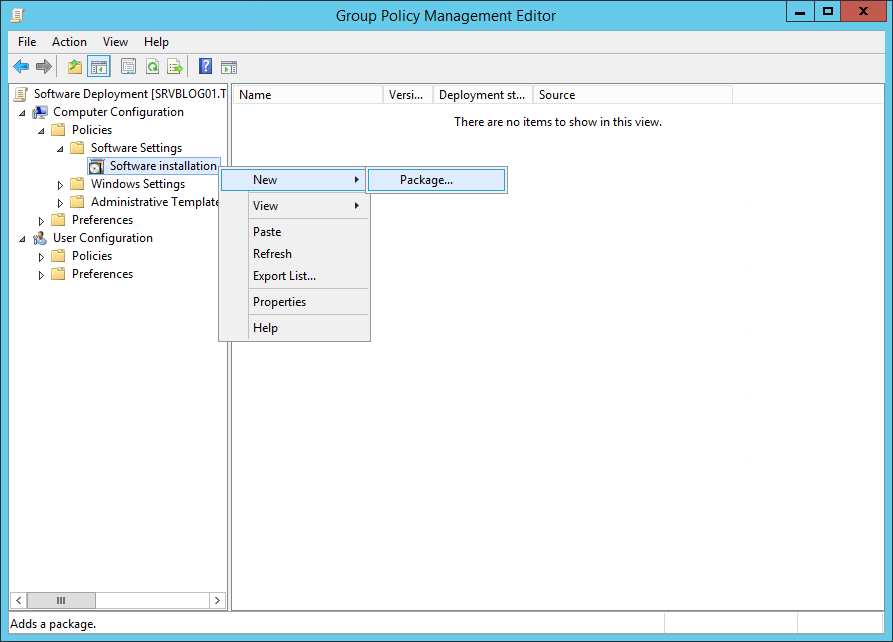 Step 4 to deploy software gpo is to Choose new package in Software installation node