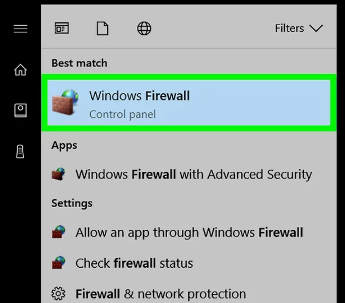 Click the Windows Firewall icon