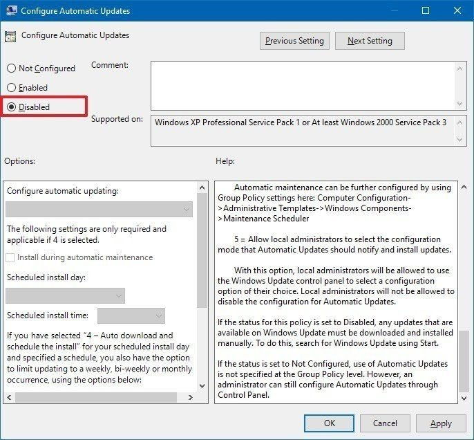 Step 4 disable windows auto update is to Change the Setting of the Group Policy Editor