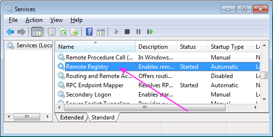 double-click on the remote registry service