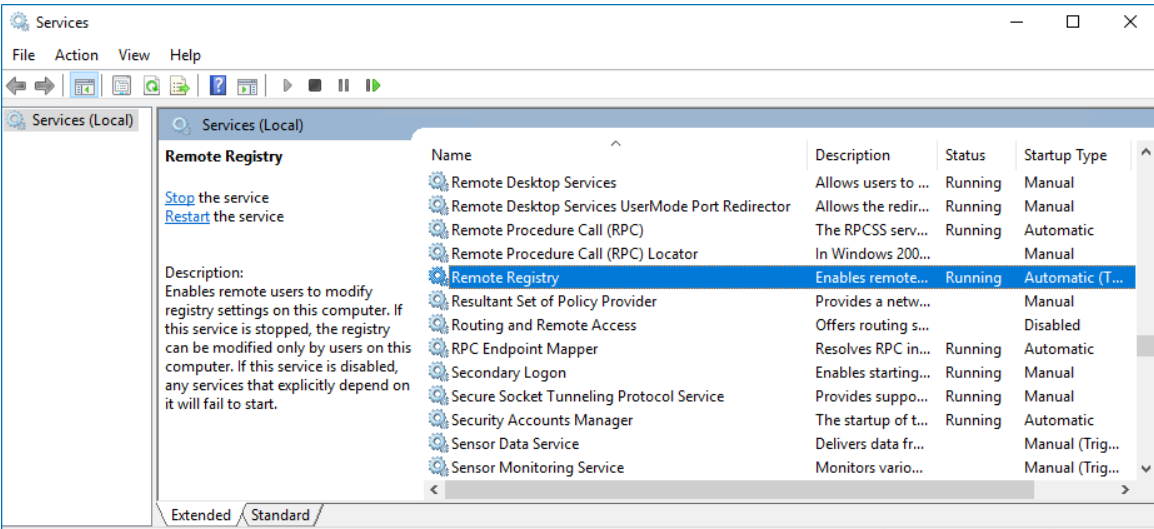Step to Shutdown remote computer is to Find Remote Registry