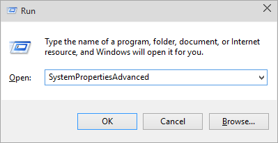 Step 1 to delete user profile is to Open Advanced System Properties Window