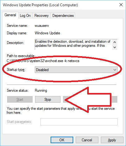 Step 3 to disable windows auto update is to Select Option Disabled In Window with Startup Type