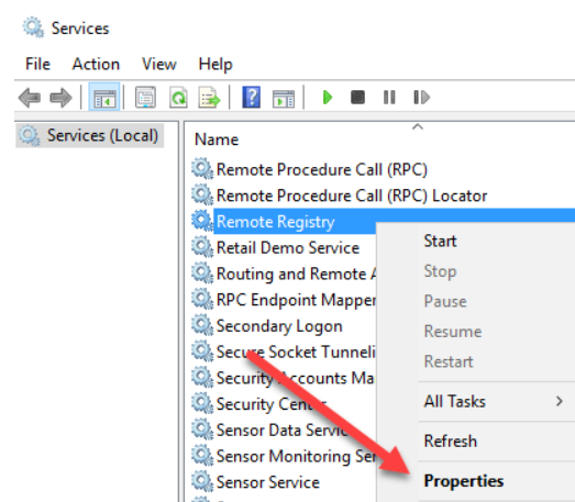 Select Properties of Remote Registry