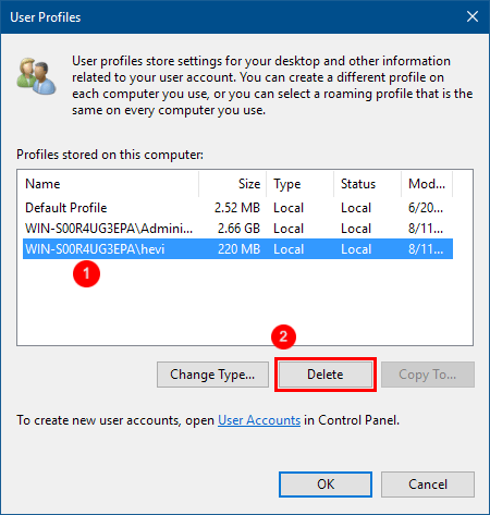 Step 3 to delete user profile is to Selecting the Profile and Deleting