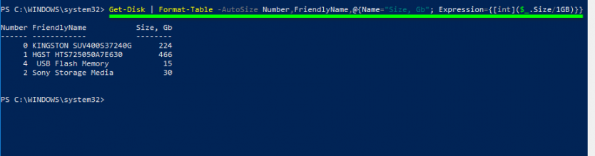 Size column displays the size in bytes