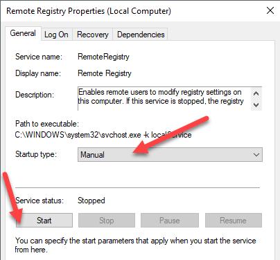 Start remote registry service
