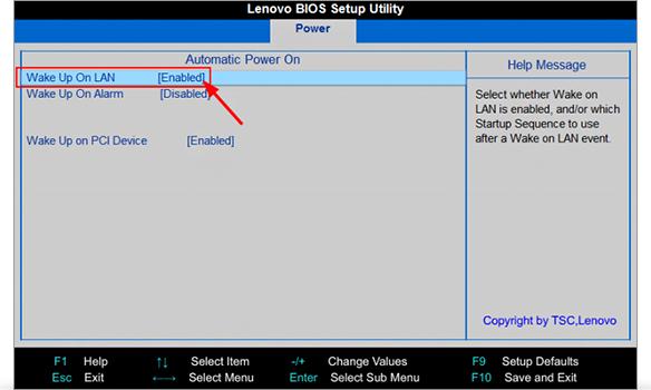 Step 1 to Wake-on-lan Setup is to find WoL parameter BIOS