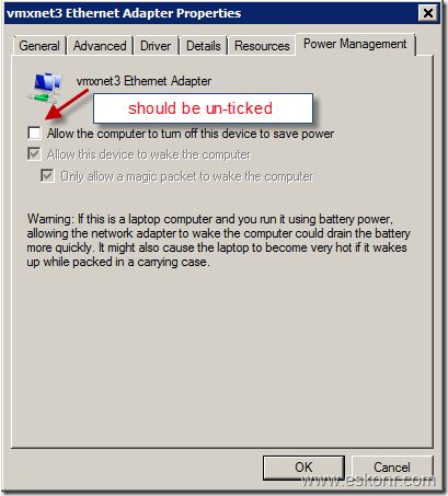 allow only the magic packet to wake the computer