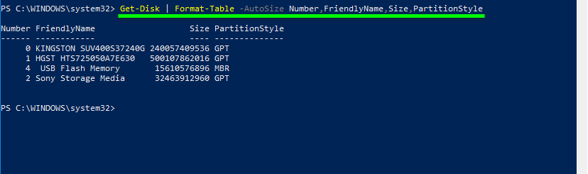 Get hard drive information powershell. Apply Format-Table to Get-Disk cmdlet