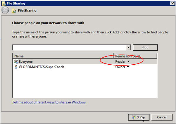 Step 4 to auto install exe file with GPO is to click the Share button