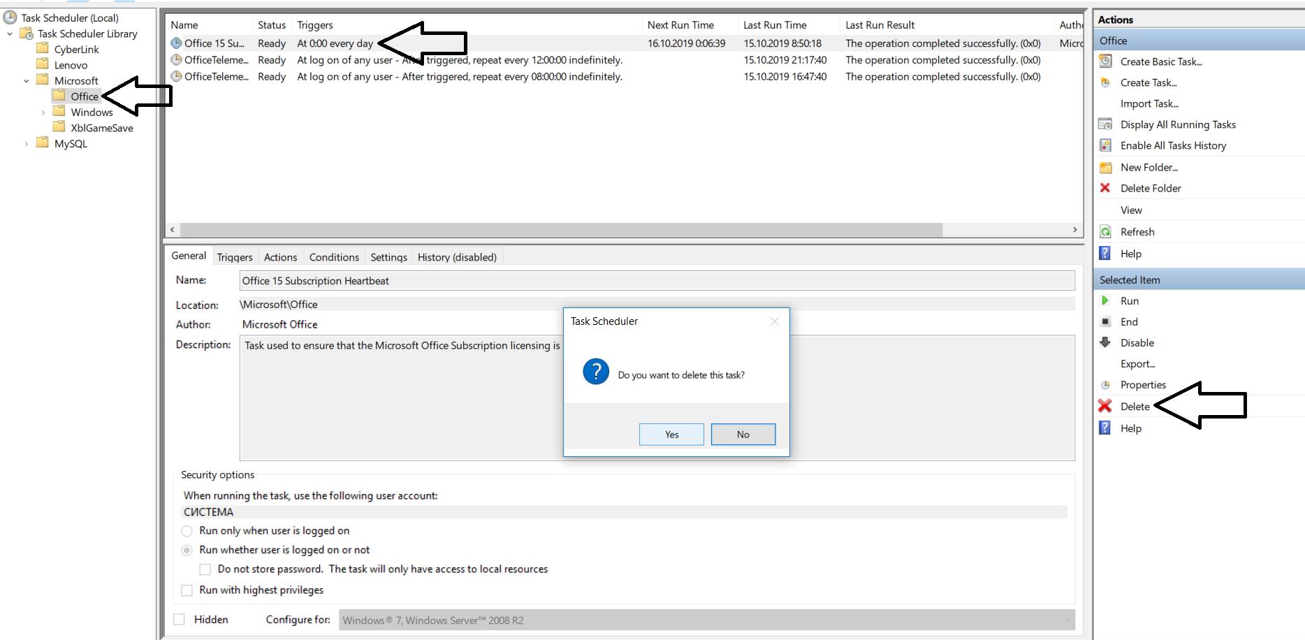 Delete task in MMC