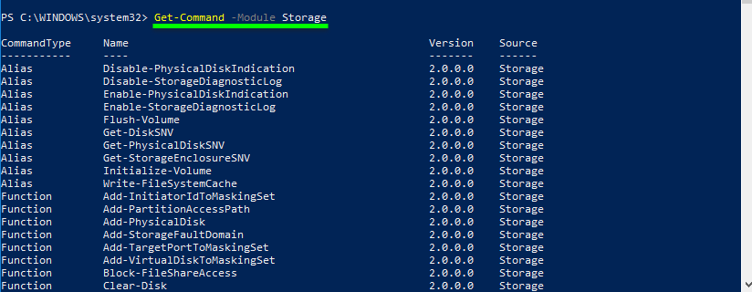 Get hard drive information powershell. Show list of all cmdlets Storage module