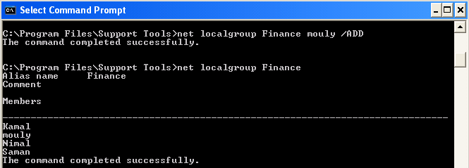 Step 1 to Add Local Group Member is to Run This Command