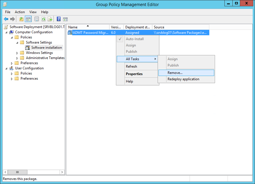 Step 9 Try it if you need to remove programs instead of deploy software GPO