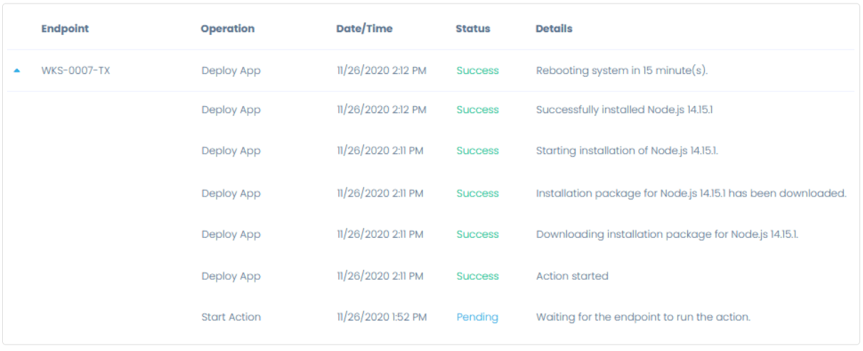 Actions Running and Completed