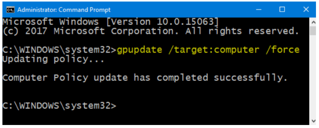 Run the gpupdate target user logoff command