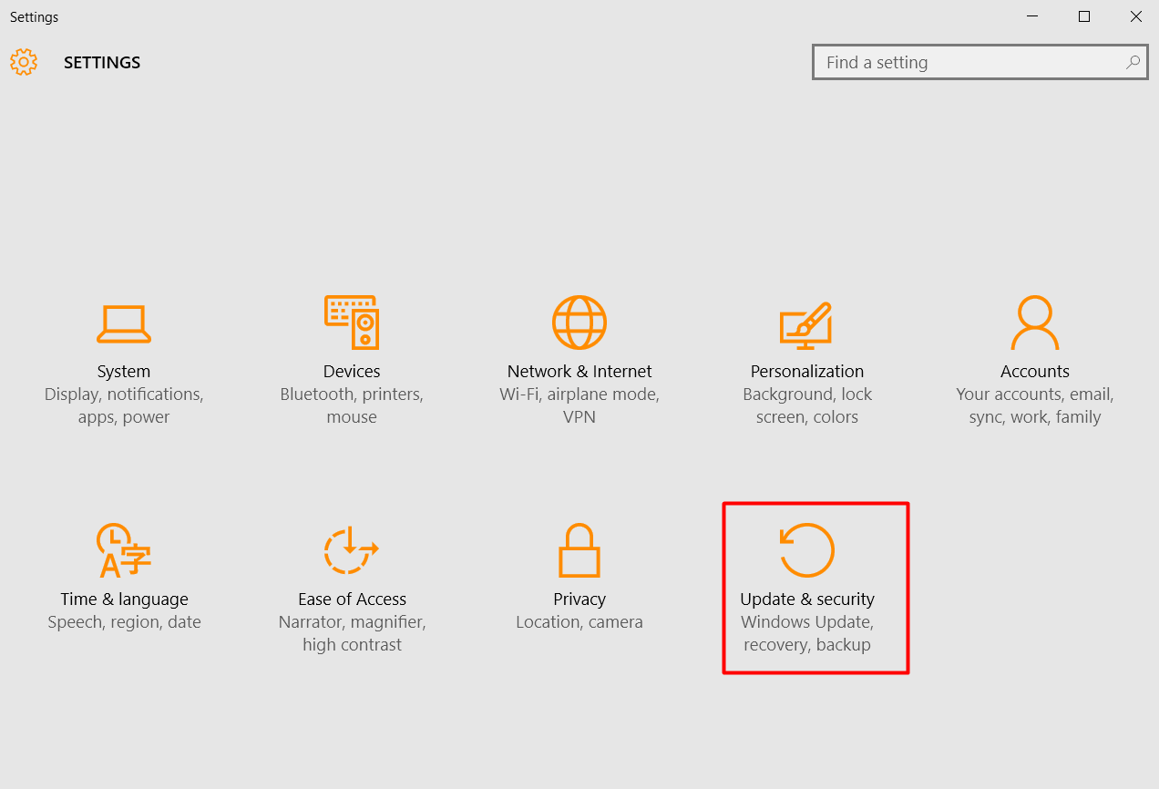 Step 3 to fix trouble when Microsoft Windows Updates not working Is to Click on the Tab of the Settings Menu Update & Security