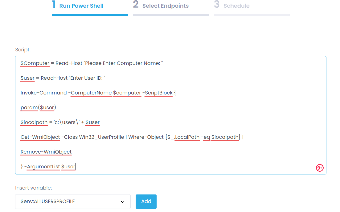 Delete User Profil script Action1
