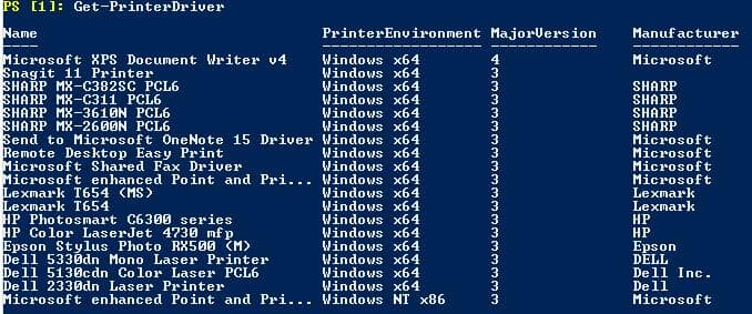 Next step to Work With Remote Network Printer is to use command Get PrinterDriver