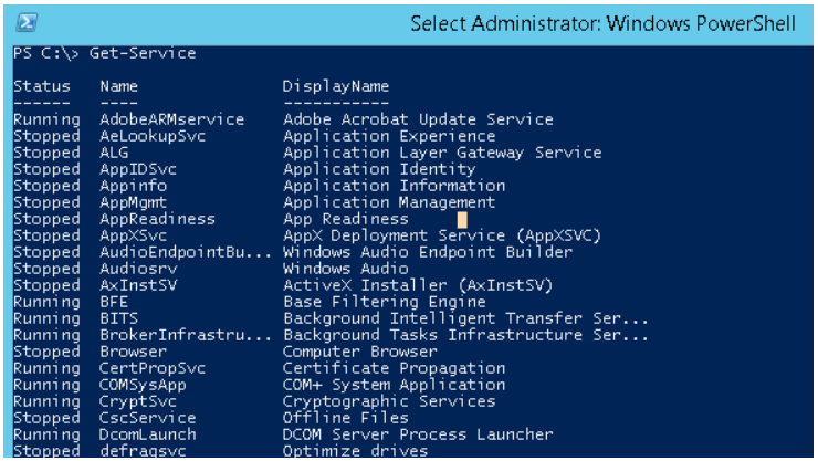 Remote Control of Services Using SC, Psservice.exe, MMC. Using PowerShell Get service command