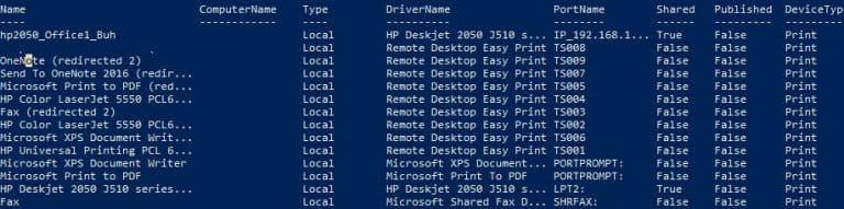 Listing Printers on a Print Server Using Powershell
