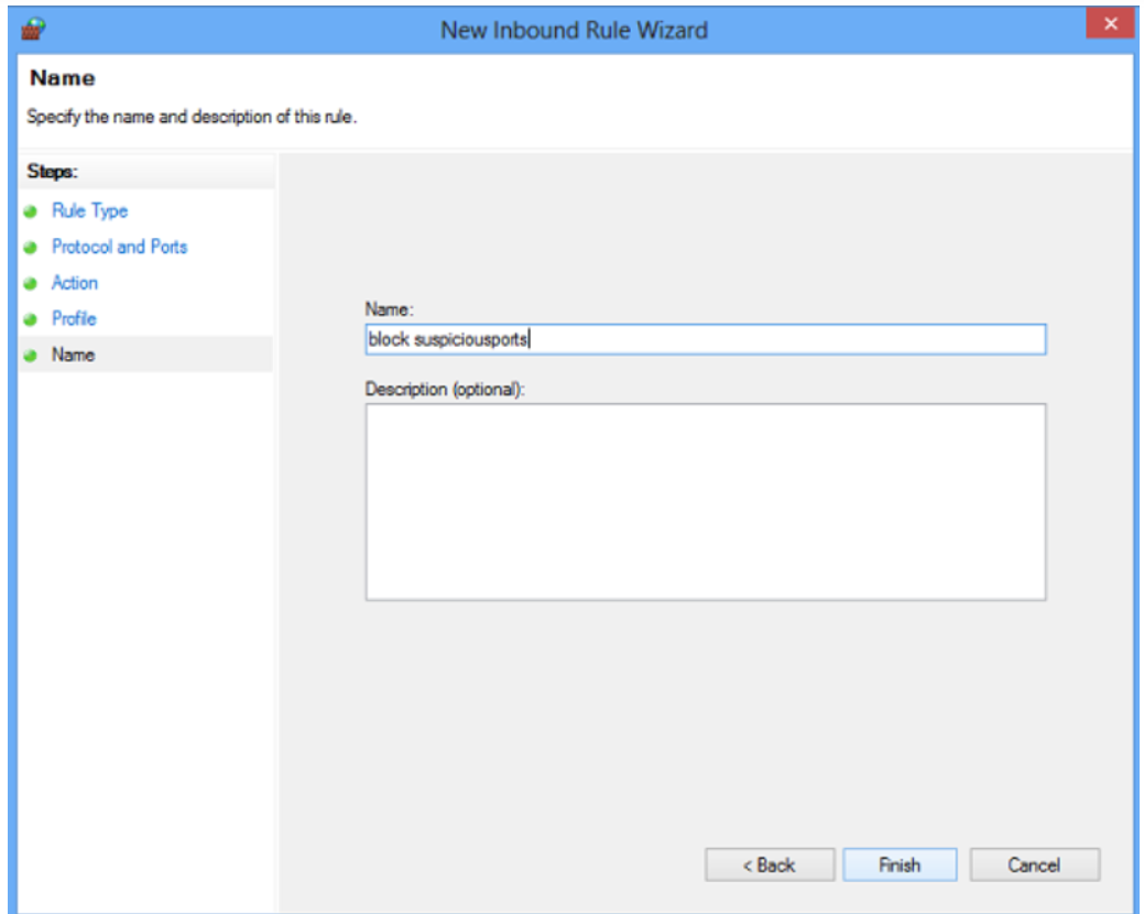 Step 4 to Block Windows Firewall port is to Name your rule and configure the settings