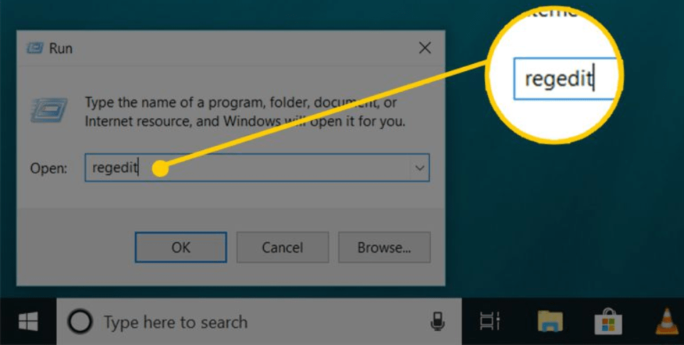 The next step to delete user profile is to Open Registry Editor Window