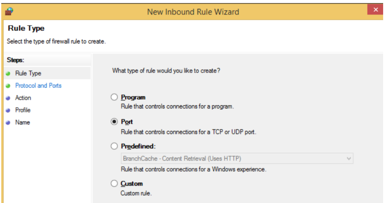 Step 4 to Block Windows Firewall port is to Open the New Inbound Rule Wizard