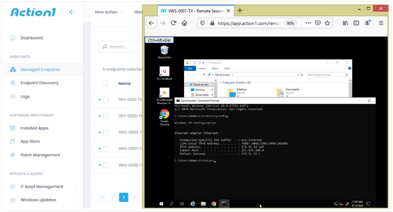 remote desktop using web browser action1