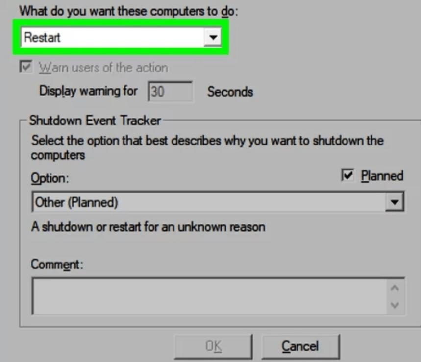 restart windows computer remotely action1 rmm