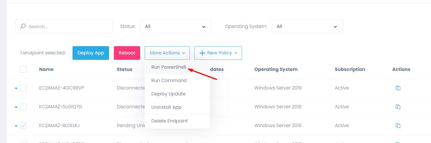 Run PowerShell option