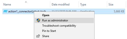 Run as administartor