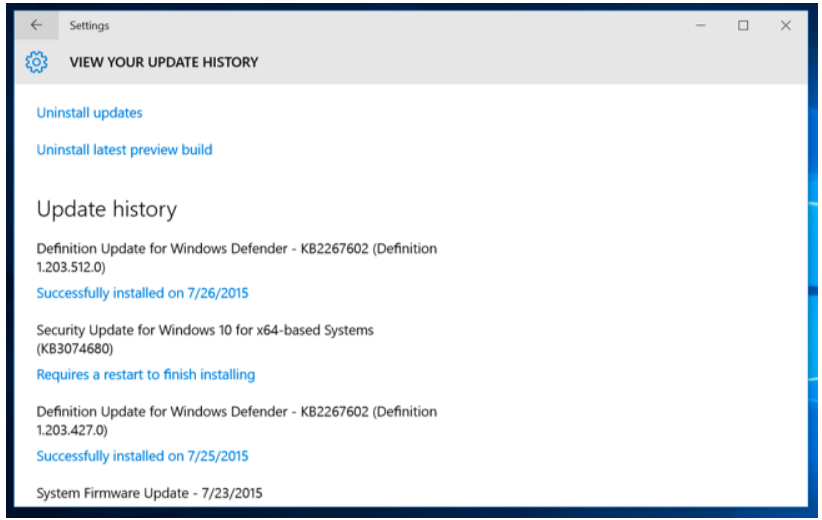 Step 5 to fix trouble when Microsoft Windows Updates not working Is to Select Update History