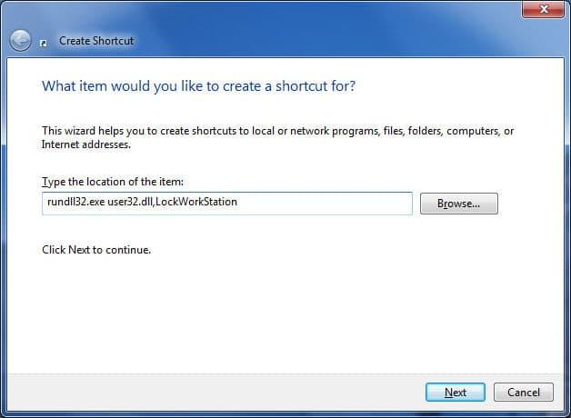 Type command rundll32 user32.dll,LockWorkStation