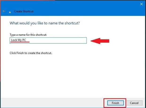 Step 3 to Lock Remote Computer is to Type a name for your shortcut