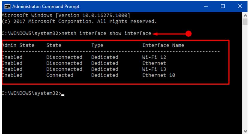 netsh interface show interface