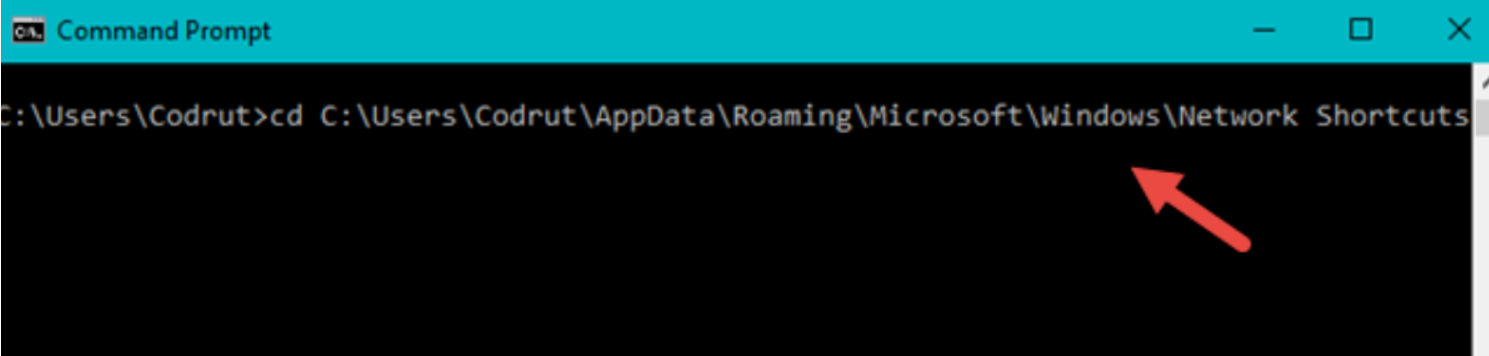 Use the Command Prompt to remove a network location mapping