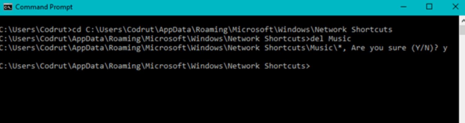 Use the del (Delete) command to remove the shortcut