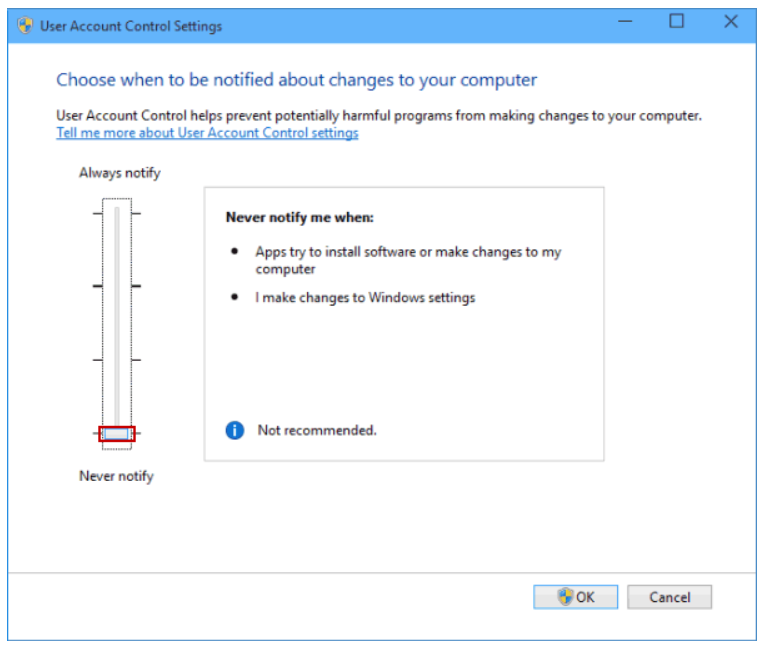 disable the UAC of Windows 10