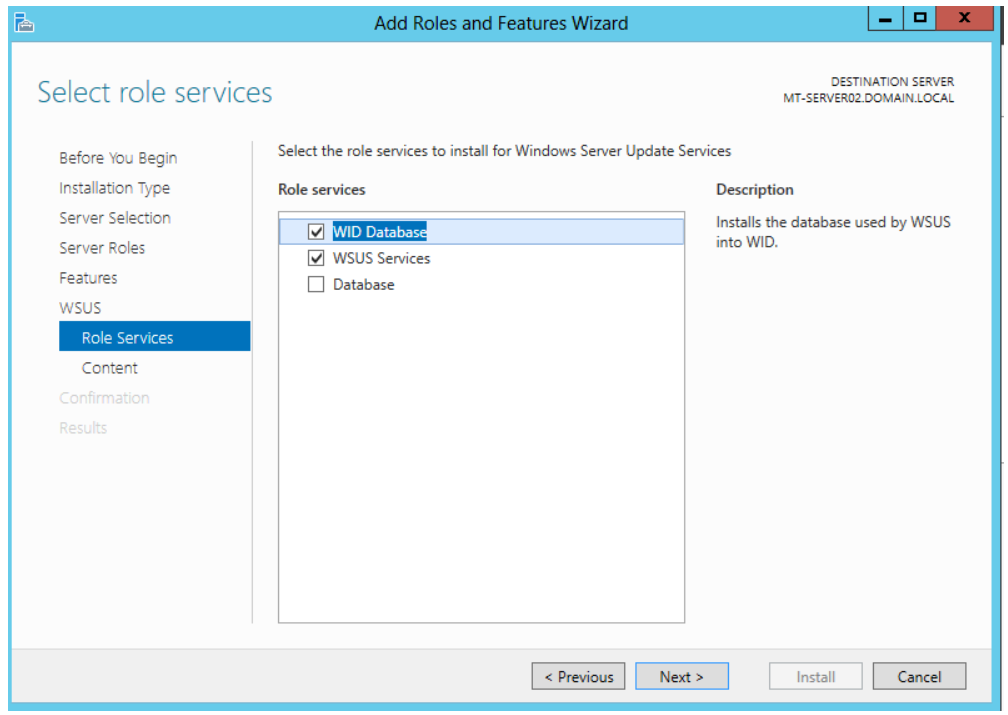 Install WSUS. select to install Windows Internal Database as store of WSUS