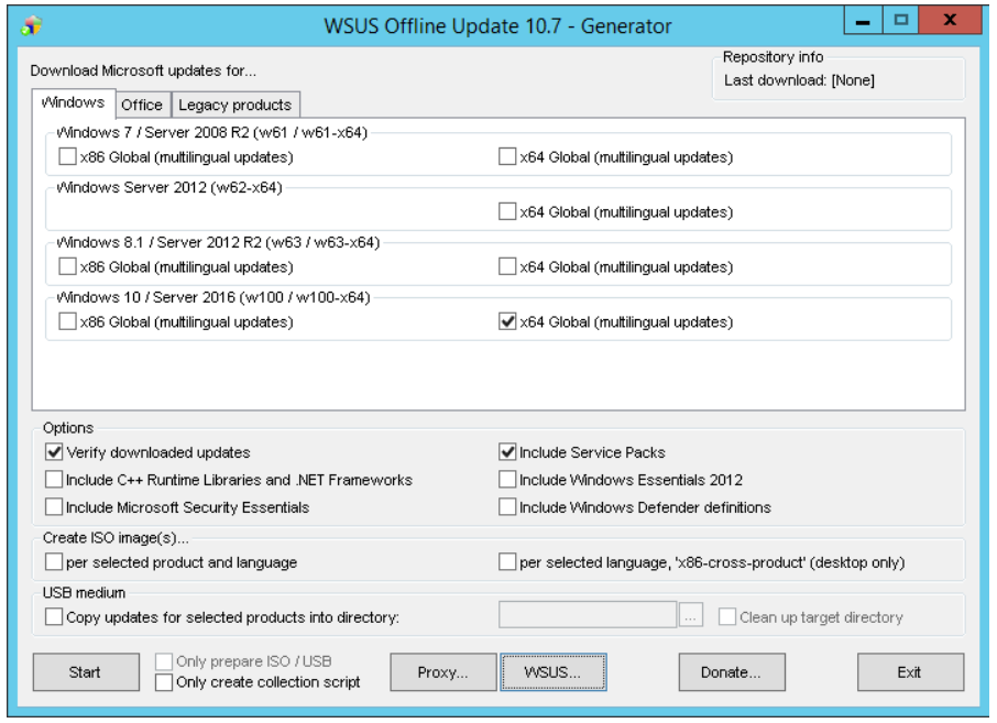 Step 1 to use WSUS Offline Update tool is to Select the version of Windows