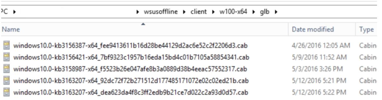 WSUS Offline Update tool. Update files directory