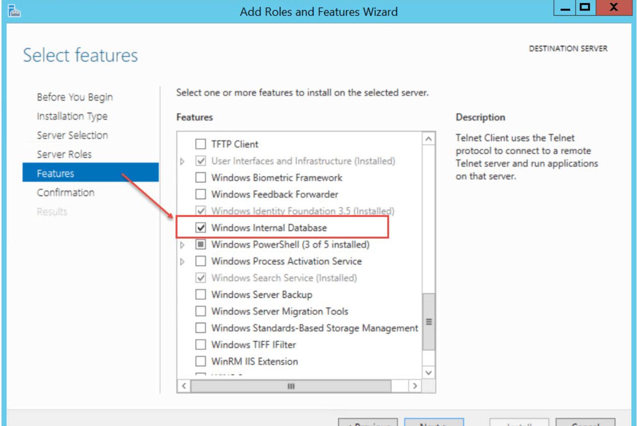 Install WSUS. Windows Internal Database