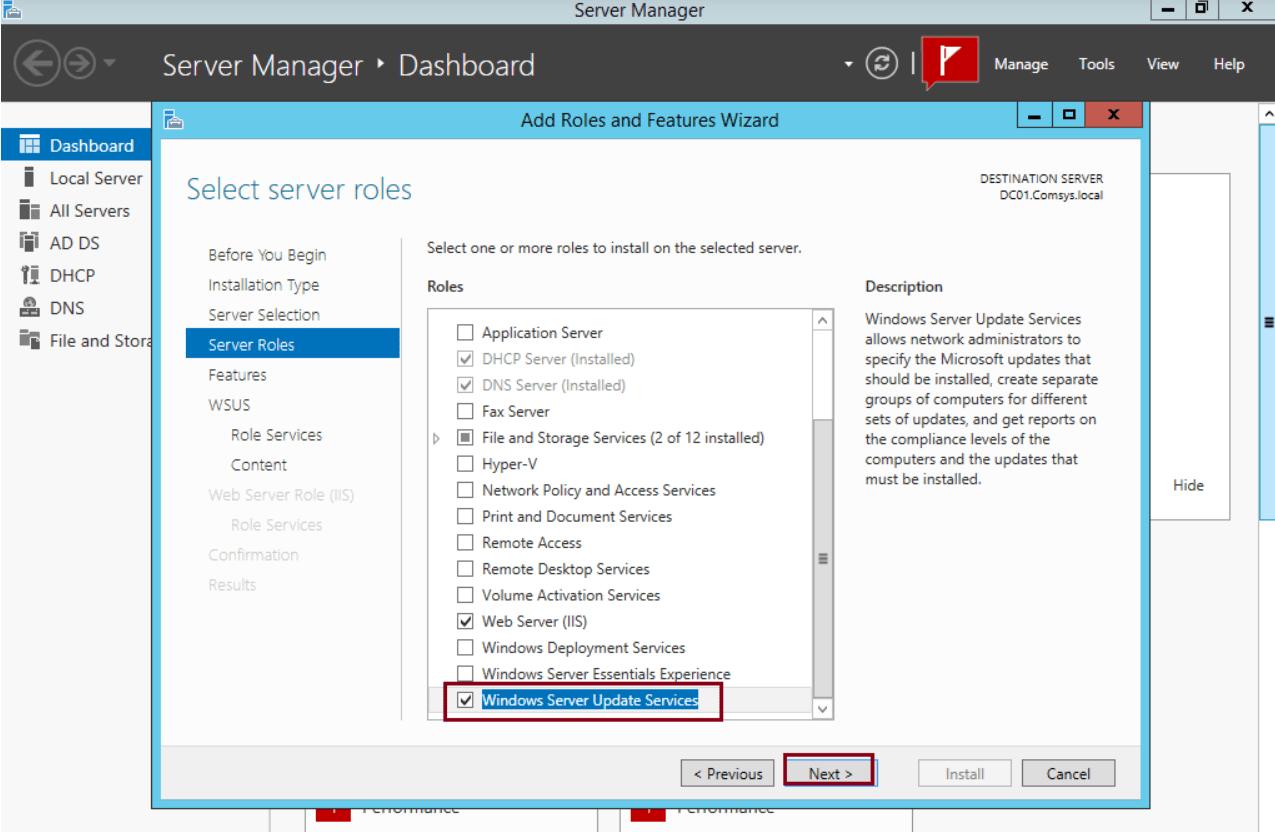 Install WSUS.Windows Server Update Services