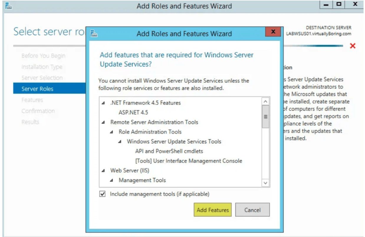 Install WSUS. Add Roles and Features Wizard