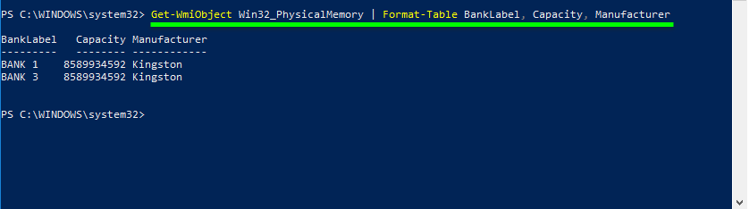 Command to powershell check ram type (find out manufacturer of the memory modules)