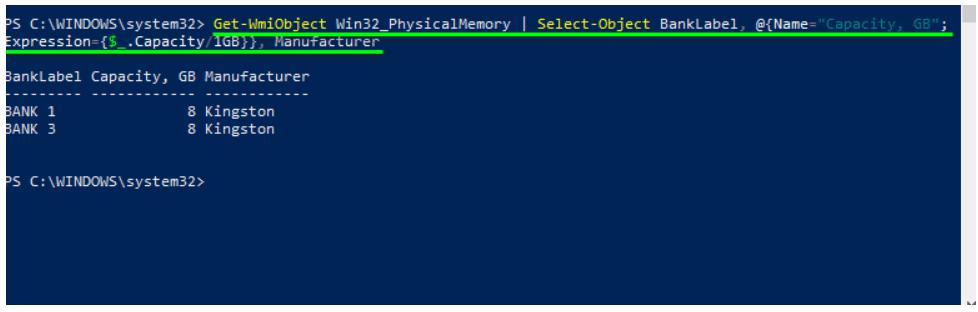 Command to powershell check ram type (Capacity column in bytes)